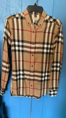 Burberry Shirt Camel Checked Cotton-Flannel Size XS