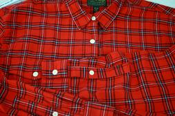 LUCKY BRAND Shirt Flannel Red Plaid Saturday Stretch 97 Cott