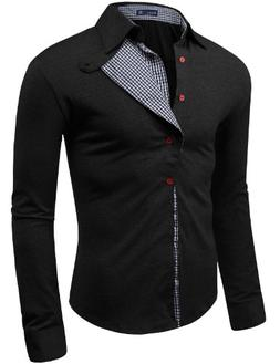 Doublju Mens shirts with Checked Pattern BLACK