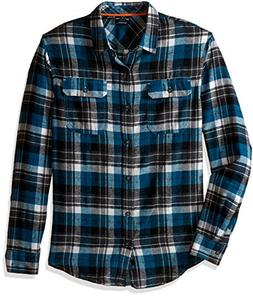 Burnside Men's Shutdown Long Sleeve Button Down Solid Flanne