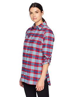 Columbia Silver Ridge Flannel Tunic, Small, Aqua Haze Plaid