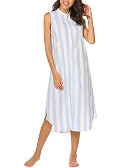 Ekouaer Sleepwear Women's Casual Sleeveless Nightgown Lightw