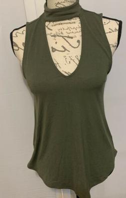 express sleeveless top small, Green Army , Mock Neck , Cute