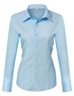 Misakia Womens Slim Fit Cotton Flannel Tailored Shirt