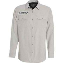 Throttle Threads Solid Stone Flannel Button Up Long Sleeve M