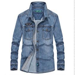 Spring 100% Cotton Denim Blue <font><b>Shirts</b></font> Ret