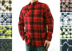 St. Johns Bay Flannel Shirt Men's Plaid Long Sleeve Button D
