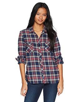 Volcom Junior's Street Dreaming Long Sleeve Flannel Shirt, V