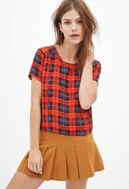 Forever 21 Stripe Flannel Tartan Plaid Women's Top Tee Shirt