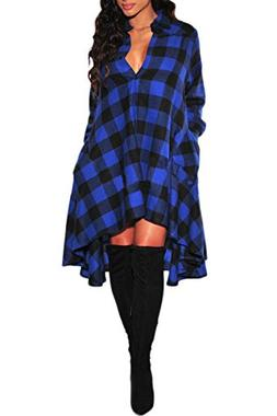 YMING Women Super Plaid Flannel Cute Button Down Shirts Chec