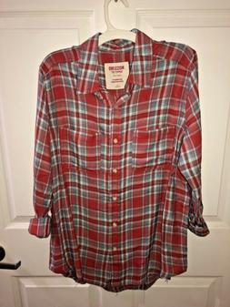 Mossimo Supply Co - Women's Red Flannel Shirt - Boyfriend Fi