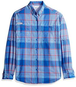 Columbia Men's Tamiami Flannel Long Sleeve Shirt, Vivid Blue