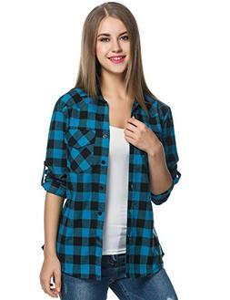 Zeagoo Womens Tartan Plaid Flannel Shirt, Roll up Long Sleev