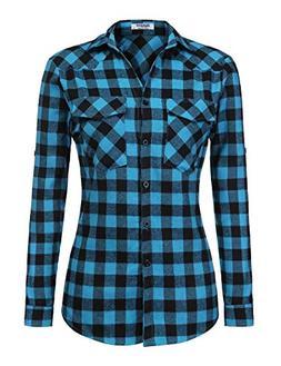Zeagoo Womens Tartan Plaid Flannel Shirts, Roll up Sleeve Ca
