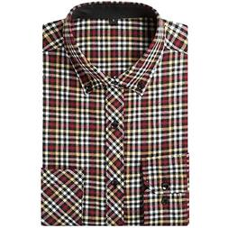 Tootless-Men Office Plaid Long Sleeve Leisure Dress Shirts T