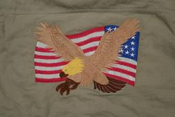 TRI-MOUNTAIN FLEECE USA FLAG & EAGLE MEDIUM L/SLEEVE TAN