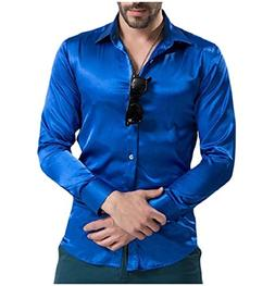 Tootless-Men Trim-Fit Charmeuse Pure Colour Long Sleeve Blou