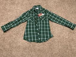 Wrangler TSC Tractor Supply Flannel Shirt Green Long Sleeve