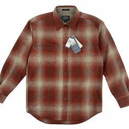 Pendleton Umatilla Lodge Red Tan Ombre Plaid Wool Shirt Mens