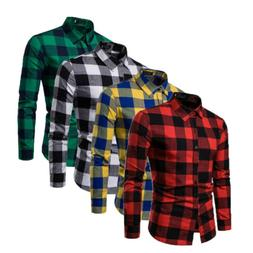 US Men Autumn Flannel T-shirt Bisiness Dress Shirt Tops Long