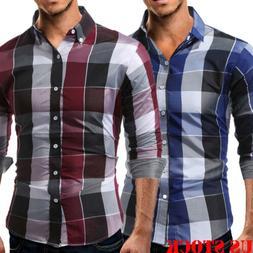 US Men Plaid Flannel Shirt Long Sleeve Classic Button Down C