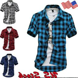 US Mens Short Sleeve Casual Top Check Shirt Brave Soul Flann