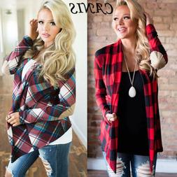US New Women Long Sleeve Flannel Plaid Shirts Cardigan Blous