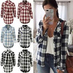 US Women Ladies Plaid & Check Flannel Shirts Button Down Top
