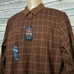 Arrow USA 1851 Flannel Men's Polo Shirt Large Brown Plaid Lo