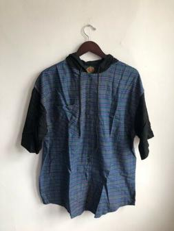 vintage global pacific hooded S/S flannel shirt mens size la