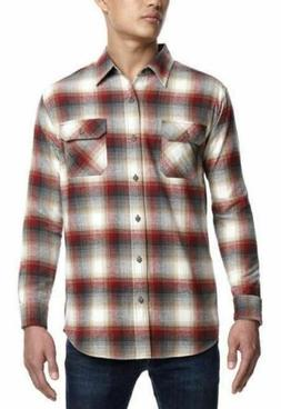 Weatherproof Vintage Mens Lightweight Plaid Flannel Long Sle