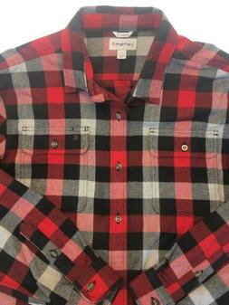 Vintage CARHARTT RED BLACK PLAID THICK FLANNEL SHIRT Men's