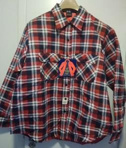 vtg SUTTON lined quilted flannel work shirt XL plaid faded &