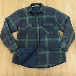 vtg Sports Afield quilt lined flannel shirt LARGE plaid grun