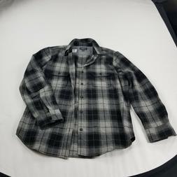 wallin & bros Men's Shirt large black gray plaid Flannel  Bu