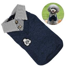 Petacc Warm Pet Stripe Sweater Comfortable Dog POLO Shirt So