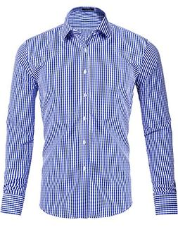 XI PENG Men's Western Plaid Checkered Fitted Button Down Lon