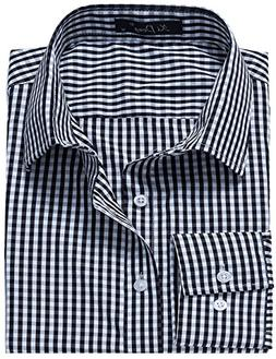 XI PENG Men's Western Plaid Checkered Fitted Button up Long