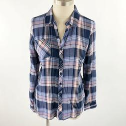 Dressbarn Westport Womens XS Flannel Button Down Shirt Top P