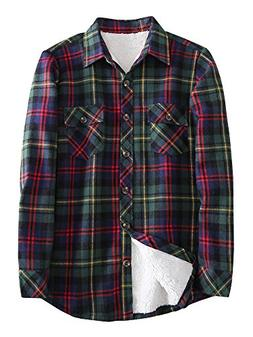 Women's Winter Plaid Cotton Fleece Lined Flannel Shirts C004