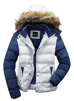 Wantdo Men's Winter Puffer Coat Casual Fur Hooded Warm Outwe
