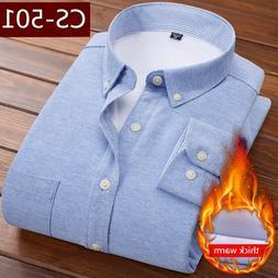 Winter Solid Long Sleeve Warm Fleece Lining <font><b>Shirts<