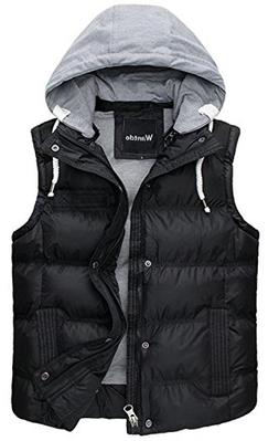 Wantdo Men Winter Thicken Cotton Stand Collar Outwear Vest W