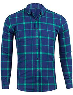 XI PENG Men's Winter Warm Button Down Plaid Checked Long Sle