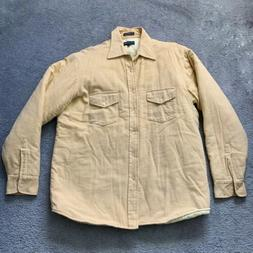 Van Heusen Winterweights Cream Flannel Shirt Jacket Mens Siz