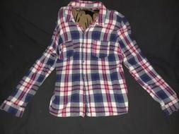 womans flannel shirt blue red white xxl plaid
