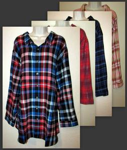 Womans Plus 4X 100% Cotton Plaid Flannel Button Down Shirt N