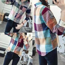 Women Casual Button Down Lapel Shirt Plaids & Checks Flannel