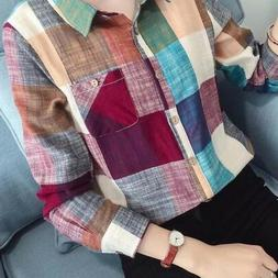 Women Casual Button Down Lapel Shirt Plaids & Checks Flannel