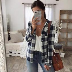 Women Flannel Plaid Shirt Material Relaxed Button-front Coll